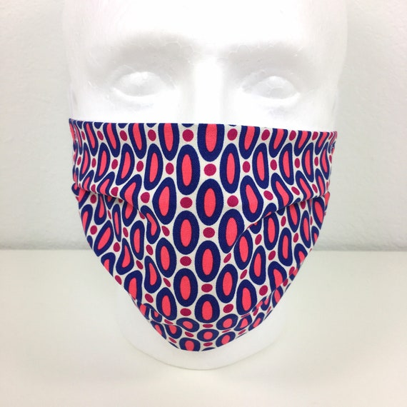 Red Navy Adult Face Mask - Adjustable Fabric Face Mask with Pocket for Filter