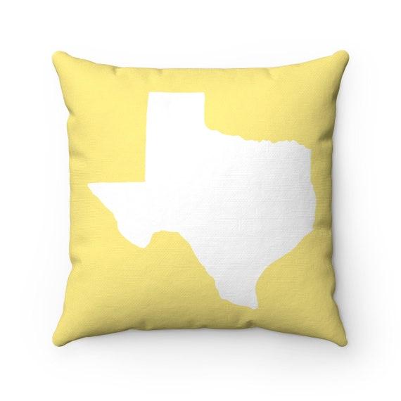 OUTDOOR Throw Pillow . Texas Outdoor Pillow . Texas State patio cushion . 16 18 20 inch . Butter Yellow Texas Outside Pillow . Texan Pride