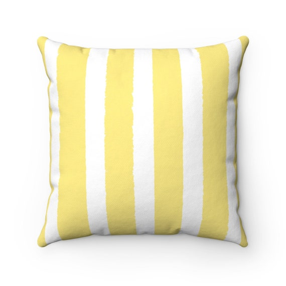 OUTDOOR Throw Pillow . Butter Yellow Outdoor Pillow . Stripe patio cushion . Modern Outdoor Pillow . 16 18 20 inch . Yellow Lumbar Pillow