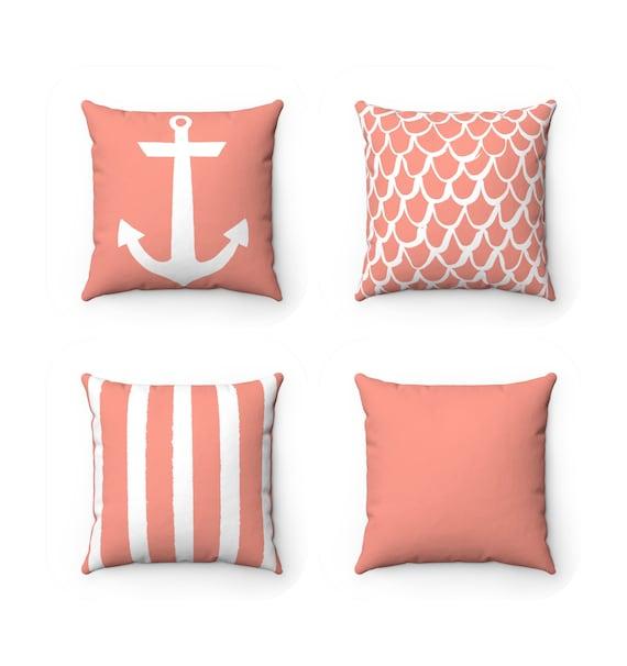 OUTDOOR Throw Pillow . Peach Mermaid Pillow . Peach Outdoor Pillow . Peach Patio Cushion . Anchor Pillow . Peach Stripe Pillow . Lumbar