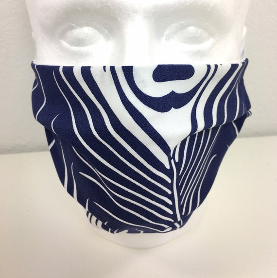 Extra Large Navy Blue Feather Face Mask - XL Adult Adjustable Fabric Face Mask with Pocket for Filter