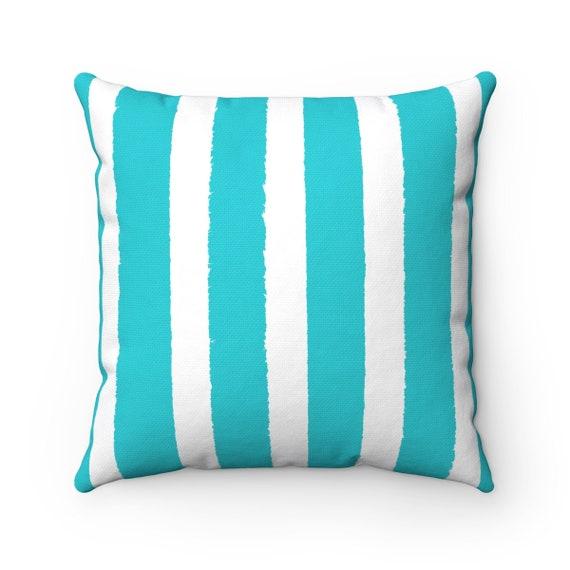 Outdoor Throw Pillow Aqua And White Outdoor Pillow Stripe Etsy