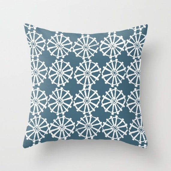 OUTDOOR Throw Pillow . Teal Outdoor Pillow . Teal patio cushion . Modern Geometric Pillow . Teal Wheel . 16 18 20 inch . Lumbar Pillow