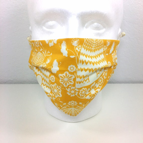 Yellow Beehive Face Mask - Adult / Tween / Teen Adjustable Fabric Face Mask with Pocket for Filter