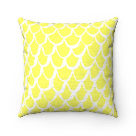 Lemon Yellow Mermaid Throw Pillow . Yellow and White Pillow . Lemon Yellow Cushion . Lumbar Pillow . Mermaid Cushion 14 16 18 20 26 inch