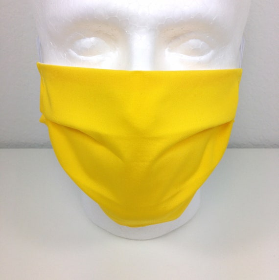 Solid Yellow Face Mask - Adjustable Adult Fabric Face Mask with Pocket for Filter