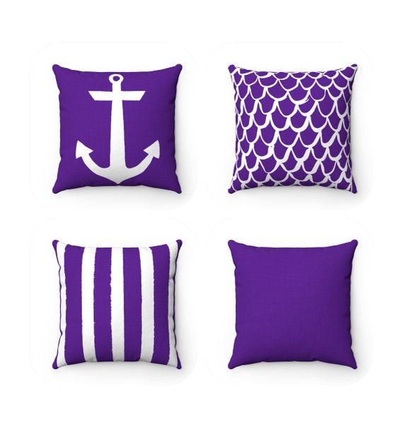 OUTDOOR Throw Pillow . Violet Outdoor Pillow . Purple Patio Cushion . Anchor Pillow . Purple Stripe Pillow Rectangle . Violet Mermaid Pillow