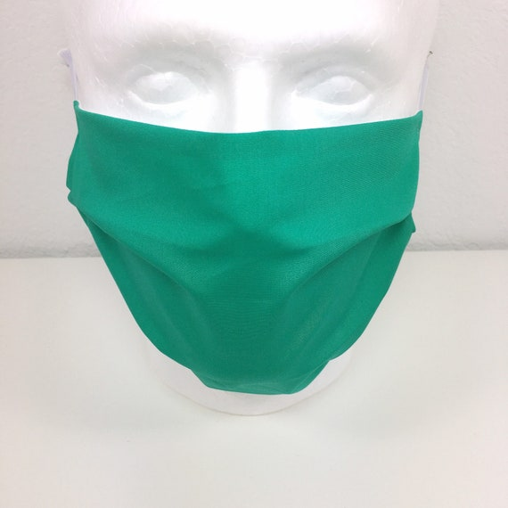 Emerald Green Extra Large Face Mask - XL Adult Adjustable Fabric Face Mask with Pocket for Filter