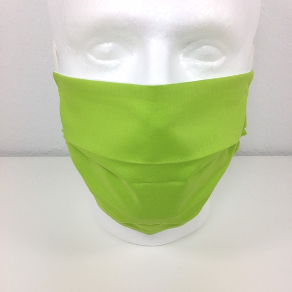 Lime Green Face Mask - Adult Adjustable Fabric Face Mask with Pocket for Filter