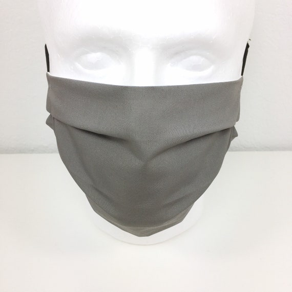 Solid Gray Face Mask - Adult Adjustable Fabric Face Mask with Pocket for Filter