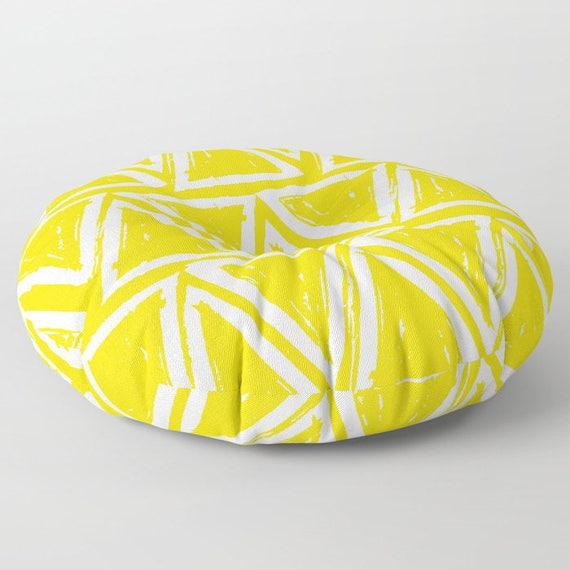 Yellow floor cushion . Round cushion . Yellow Pillow . Round pillow . Floor pillow . Geometric pillow . 26 inch pillow . 30 inch pillow