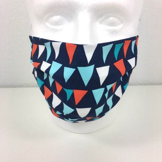 Navy Bunting Child over 10 / Adult Face Mask - Adjustable Fabric Face Mask with Pocket for Filter