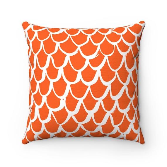 Orange Mermaid Throw Pillow . Orange Lumbar Pillow . Tangerine Cushion