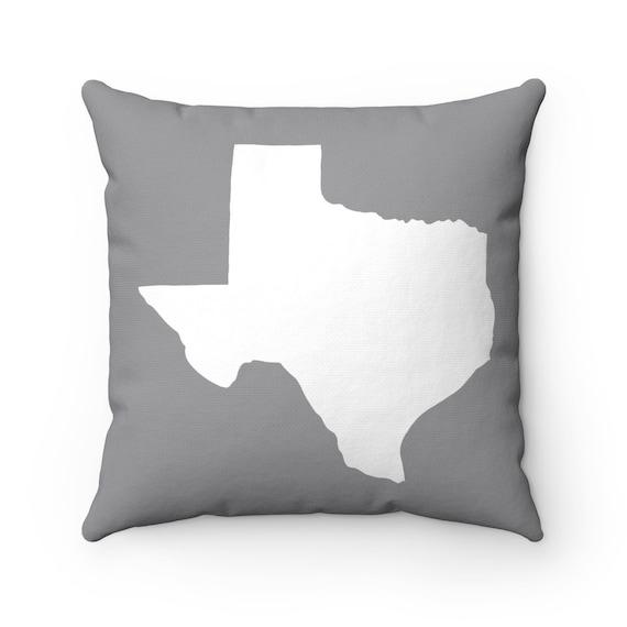 Grey Texas Throw Pillow . Grey Pillow . Texas Cushion . Gray Texas Pillow . Texas Pillow . Texas State Cushion . Texas Gift 14 16 18 20 inch
