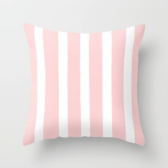 Blush Pink and White Striped Throw Pillow . Rose Pillow . Blush Lumbar Pillow . Pink Striped Pillow . Blush Pink Cushion 14 16 18 20 inch