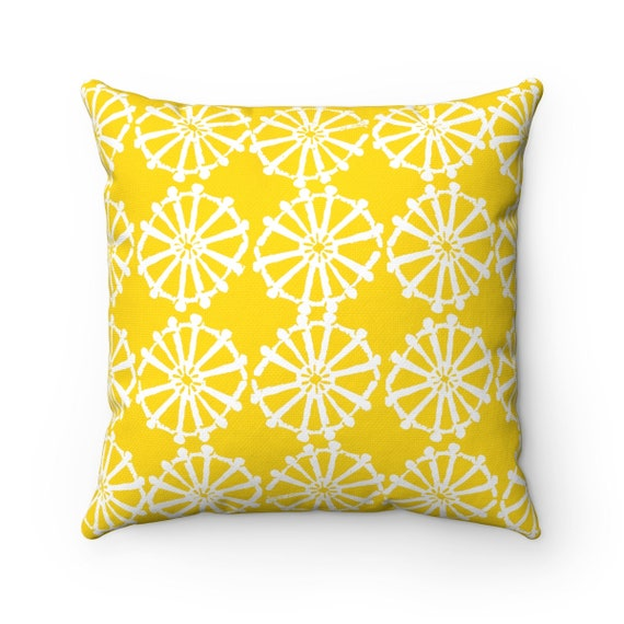 OUTDOOR Throw Pillow . Yellow Outdoor Pillow . Yellow patio cushion . Modern Geometric Pillow Wheel . 16 18 20 inch . Lumbar Pillow