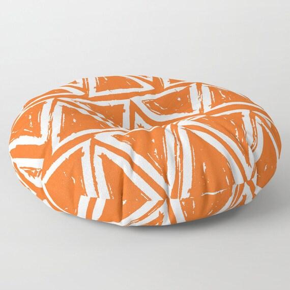 Orange floor cushion . Round cushion . Orange Pillow . Round pillow . Floor pillow . Geometric pillow . 26 inch pillow . 30 inch pillow