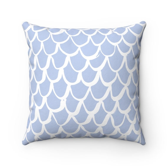 Periwinkle Mermaid Throw Pillow . Blue and White Pillow . Periwinkle Cushion . Blue Mermaid Pillow . Mermaid Cushion 14 16 18 20 26 inch