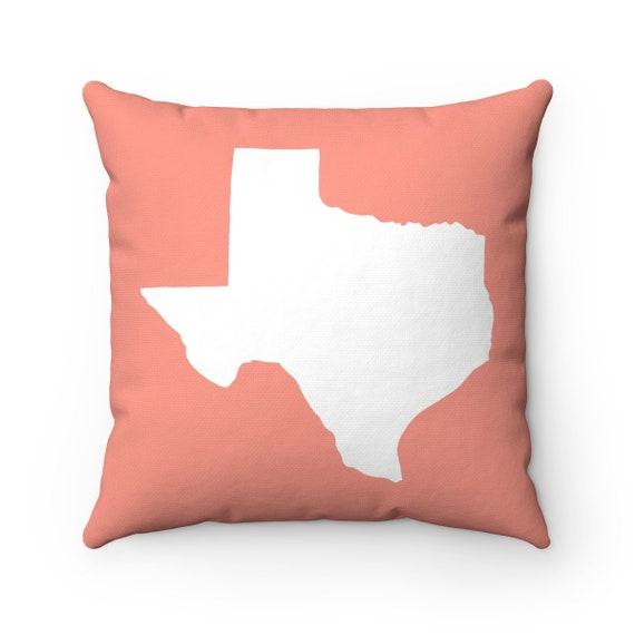 Peach Texas Throw Pillow . Peach Texas Pillow . Modern Peach Pillow . Texas Cushion  Texas State Pillow  Texas Gift 14 16 18 20 26 inch