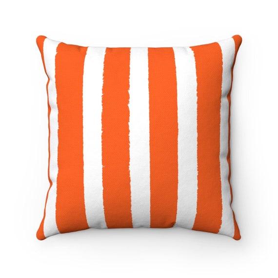 OUTDOOR Throw Pillow . Orange Outdoor Pillow . Orange Stripe patio cushion . Modern Outdoor Pillow . 16 18 20 inch . Orange Lumbar Pillow