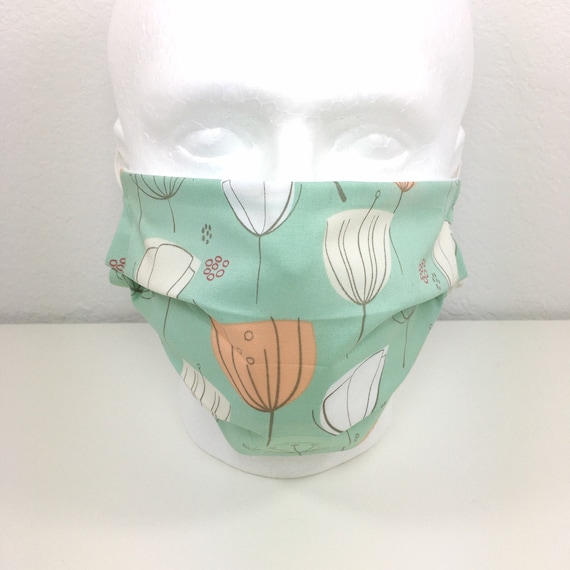 XL Adult - Adjustable Fabric Face Mask with Pocket for Filter -  Extra Large Mask - Cloth Mask - Mint Green Mask