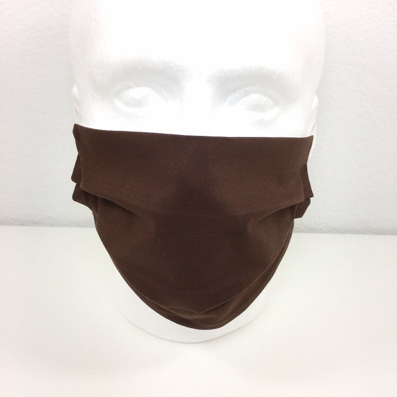 Solid Brown Face Mask - Adult Adjustable Fabric Face Mask with Pocket for Filter