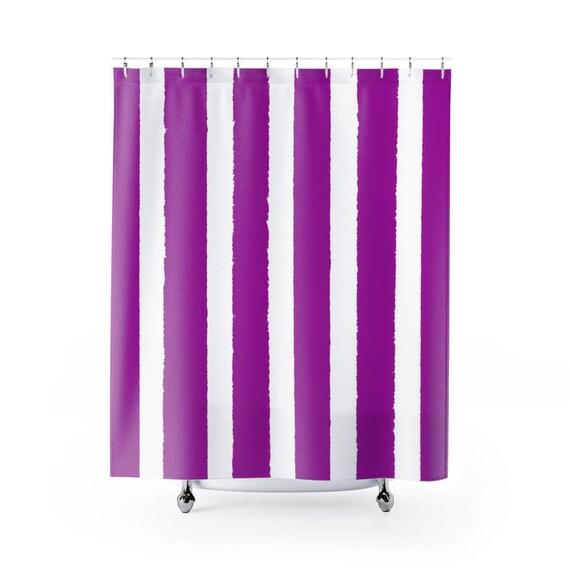 Purple Shower Curtain . Purple Striped Shower Curtain