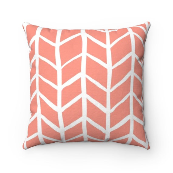 OUTDOOR Throw Pillow . Peach Outdoor Pillow . Peach Herringbone Patio Cushion