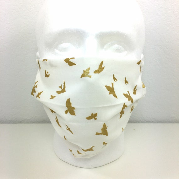 Extra Large White Face Mask Metallic Gold Birds - XL Adult Adjustable Face Mask with Pocket for Filter