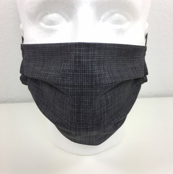 Grid Gray Face Mask - Adult / Tween / Teen  Adjustable Fabric Face Mask with Pocket for Filter
