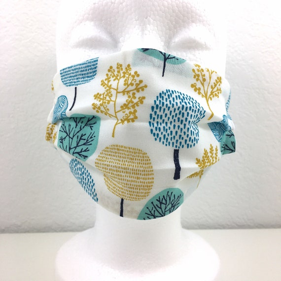 Teal Trees Child Face Mask