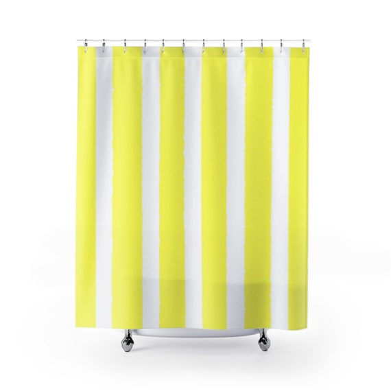Lemon Yellow Shower Curtain . Yellow Striped Shower Curtain