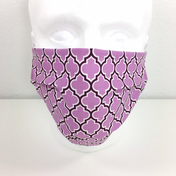 Extra Large Lavender Face Mask - Adjustable Fabric Face Mask with Pocket for Filter - XL Adult Face Mask