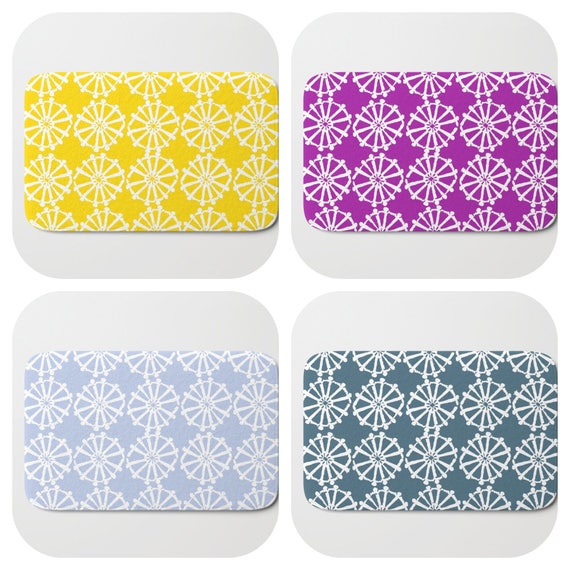 Bath Mat - Purple Bath Mat - Teal Bath Mat - Bath Rug - Yellow Shower Mat - Wheel Rug - Periwinkle Blue Rug - Hyacinth Memory Foam Mat