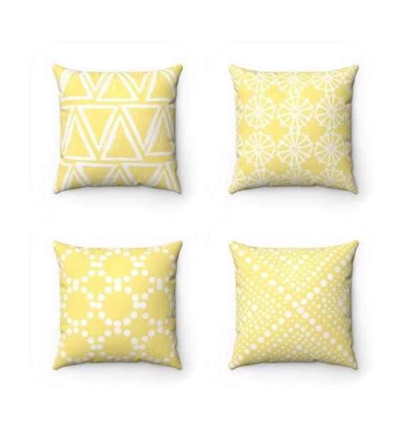 Butter Yellow Throw Pillow . Modern Throw Pillow . Yellow Cushion . White Geometric triangle circle dot . Lumbar Pillow 14 16 18 20 26 inch