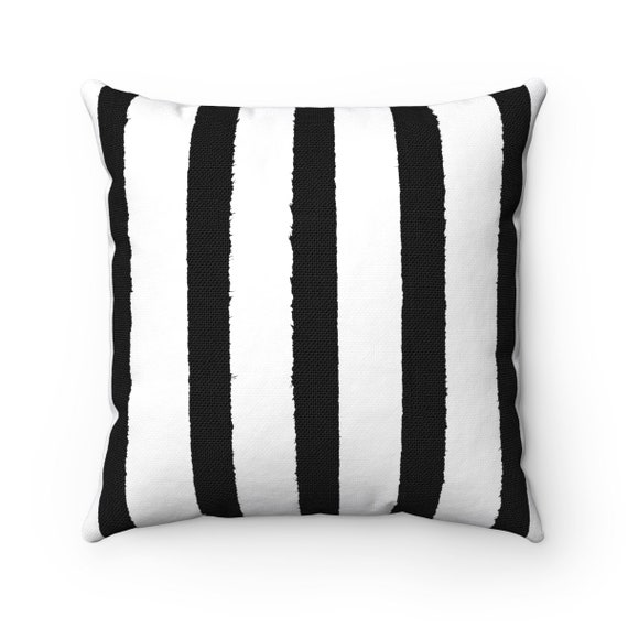OUTDOOR Throw Pillow . Black and White Outdoor Pillow . Stripe patio cushion . Modern Black Pillow . 16 18 20 inch  Outside Rectangle Pillow
