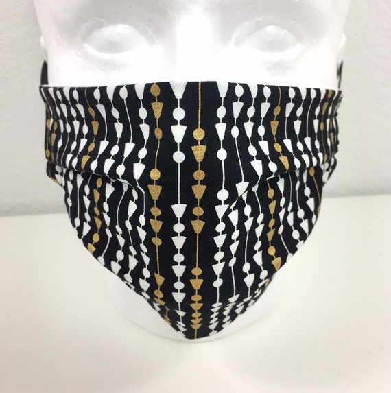 Adult - Adjustable Fabric Face Mask with Pocket for Filter - Adult Face Mask - Metallic Gold Black and White Face Mask