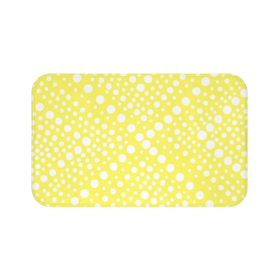 Lemon Yellow Bath Mat . Yellow and White Bath Mat  . Ring Dot Bathroom Rug . Yellow Shower Mat
