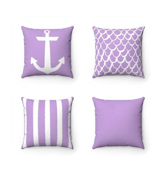 Lavender Throw Pillow . Mermaid Pillow . Anchor Cushion . Lavender Striped Pillow . Solid Lavender Pillow .  14 16 18 20 26 inch