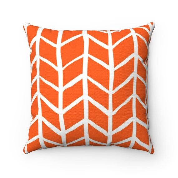 OUTDOOR Throw Pillow . Orange Outdoor Pillow . Orange Herringbone Patio Cushion