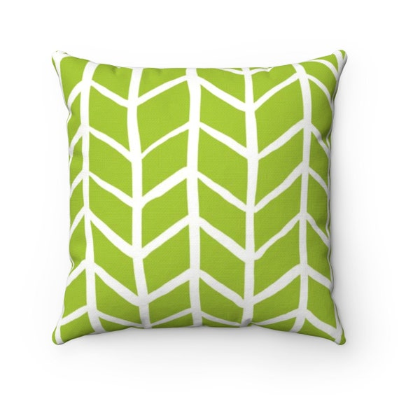OUTDOOR Throw Pillow . Lime Green Outdoor Pillow . Lime Herringbone Patio Cushion