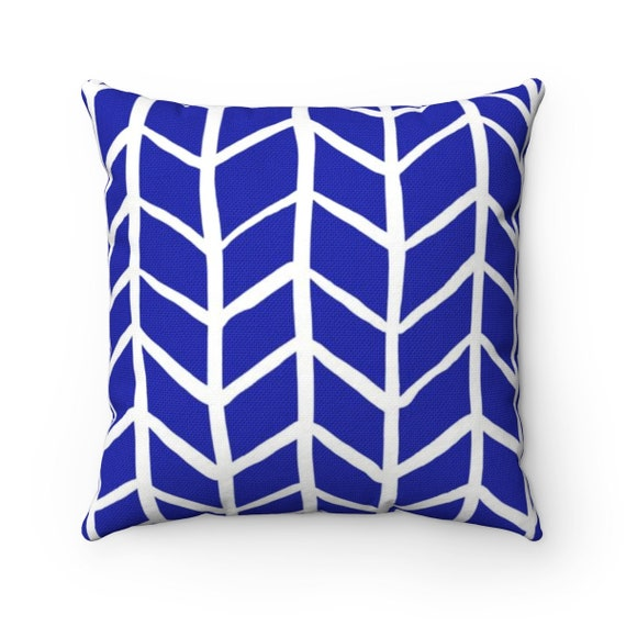 OUTDOOR Throw Pillow . Azure Blue Outdoor Pillow . Herringbone Patio Cushion