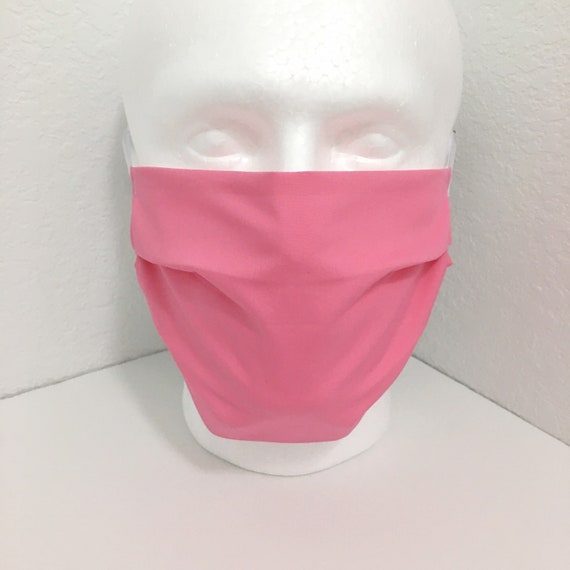 Solid Pink Extra Large Face Mask - XL Adult Adjustable Fabric Face Mask with Pocket for Filter