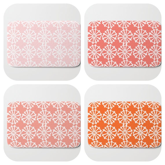Bath Mat - Blush pink Bath Mat - Orange Bath Mat - Bath Rug - Coral Shower Mat - Wheel Rug - Peach Rug - Pink Memory Foam Mat