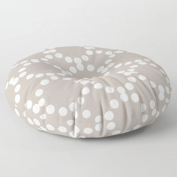 Taupe floor cushion . Round cushion . Gray Pillow . Round pillow . Floor pillow . Geometric pillow . 26 inch pillow . 30 inch pillow
