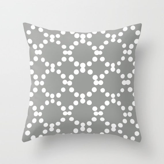 OUTDOOR Throw Pillow . Grey Outdoor Pillow . Gray and White patio cushion . Modern Geometric Pillow Ring Dot . 16 18 20 inch . Grey Lumbar