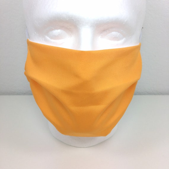 Light Orange Extra Large Face Mask - XL Adult Adjustable Fabric Face Mask with Pocket for Filter - Mandarin