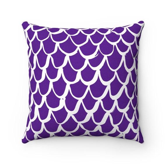 Purple Mermaid Throw Pillow . Violet and White Pillow . Purple Cushion . Violet Mermaid Pillow . Mermaid Lumbar Cushion 14 16 18 20 26 inch