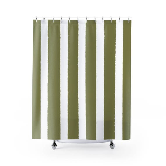 Olive Shower Curtain . Olive Green Striped Shower Curtain