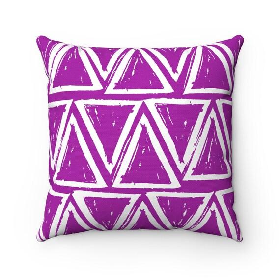 OUTDOOR Throw Pillow . Purple Outdoor Pillow . Purple patio cushion . Modern Geometric Pillow Triangle . 16 18 20 inch  Violet Lumbar Pillow